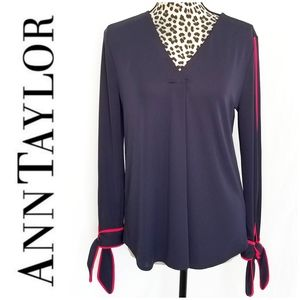 Ann Taylor Navy Blue Blouse w/ Red Piping
